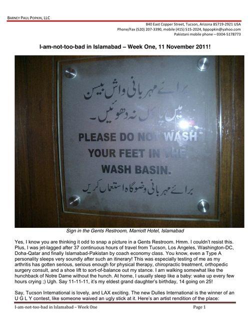 I-am-not-too-bad in Islamabad - Week One